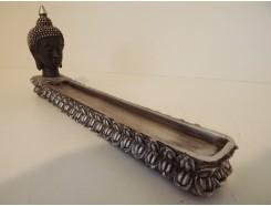 P1035460 Poly. Wierookplank met hoofd boeddha. Zwart-zilver. Lengte : 28 cm.