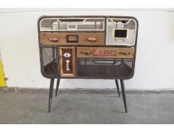 H17PJ0250 Meubel. Houten vintage-look kastje op 4 poten met 7 lades. LxBxH : 66 x 33 x 73 cm.