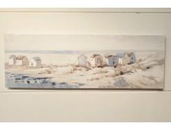 OP191091B Oilpainting. Strandhuisjes aan de kust 50 x 150 cm.