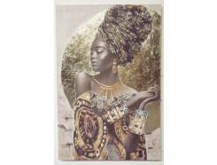 OP190686B Oilpainting. Afrikaanse dame met armbanden en kettingen 100 x 150 cm.