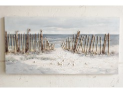 OP181390A Oilpainting. Fence in the dunes seaview 70 x 140 cm.