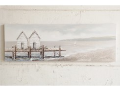 OP181645A Oilpainting. Little cottages on pier with sailingboats in the background 50 x 150 cm.