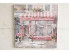 OP181377A Oilpainting. Parisien bookstore 100 x 100 cm.