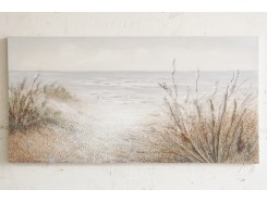 OP181781A Oilpainting. Grass in dunes with ocean view 76 x 150 cm.