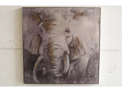 OP181362A Oilpainting. Elephant in gold and silver with luxurious frame 100 x 100 cm.