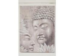 OP171789A Oilpainting. Hoofd van boeddha met 3 hoofden op achtergrond met lotusbloemen. 90x120 cm.