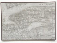 OP9413375A Oilpainting. Olieverfschilderij op steen geschilderd. Gedeelte plattegrond New York. 100 x 70 cm.