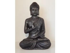 G817M-AS Garden boeddha abhayamudra medium. Hoogte : 40 cm. Antique Silver.