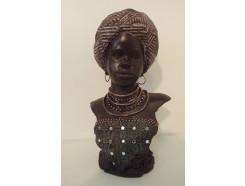 P1035170 Poly. Africa. Buste van Africaanse dame Medium LxH : 18x32 cm.