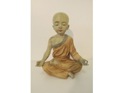"P1035374 Poly. Yoga. Gekleurde kindmonnik Yoga ""ohm"" magnesium afwerking. LxH : 17x21 cm."