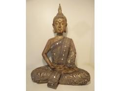 P1035807 Poly. Large Thai boeddha met spiegeltjes. Hoogte 50 cm.