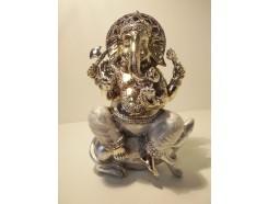 P1035358 Poly. Zilveren Ganesh met parelmoer. Hoogte 20 cm.