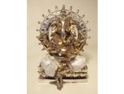 P1035359 Poly. Zilveren Ganesh met parelmoer en achtergrond. Hoogte 20 cm.