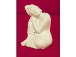 P1035324 Poly. Boeddha sleeping wit. Hoogte 10 cm.