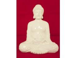 """P1035325 Poly. Boeddha Japan """"lotus"""" wit. Hoogte 30 cm."""