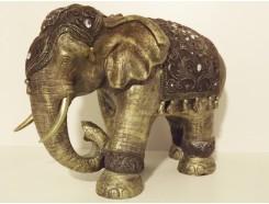 P1035554 Poly. Olifant medium brons. HxL : 35 x 50 cm.