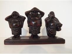 CD0992 Resin boeddha lucky horen-zien-zwijgen staand. B x H : 21 x14 cm.