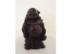 CD0025 Resin lucky boeddha traveller mini. Hoogte : 7 cm.
