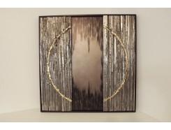 T40308C Wanddecoratie. Abstract zwart/zilver met deel van gouden cirkel (als set met T40308B maakt volledige cirkel). 60 x 60 cm.