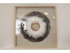 T55029 Wanddecoratie. Pauwenveren en witte veren met middelpunt van schelpen achter glas in houten lijst. 90 x 90 cm.