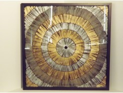 T36275 Wanddecoratie. Abstracte zilver/gouden cirkels met diepte achter glas in zwarte lijst 90 x 90 cm.