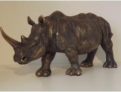 P1035635 Poly. Neushoorn bronskleur. LxH : 55 x 26 cm.