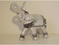 P1035627 Poly. Olifant met slurf omhoog zilver. Hoogte : 23 cm.