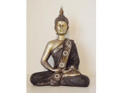 P1035497 Poly. Boeddha zittend medium antiek brons 26 cm.