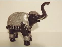 P1035462 Poly. Olifant. Zwart-zilver. Slurf omhoog. Hoogte : 20 cm.