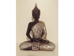 P1035281 Poly. Boeddha Thai zittend. Zwart-zilver. Hoogte : 21 cm.
