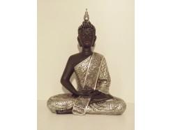 P1035282 Poly. Thai boeddha zittend. Zwart-zilver. Hoogte : 30 cm.