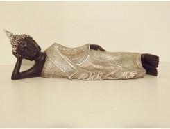 P1035286 Poly. Thai boeddha liggend. Zwart-zilver. Lengte : 35 cm.