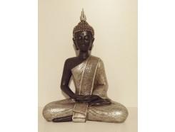 P1035288 Poly. Thai boeddha zittend large. Zwart-zilver. Hoogte : 40 cm.