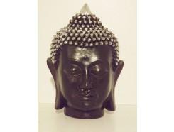 P1035291 Poly. Hoofd boeddha Thai. Zwart-zilver. Hoogte : 17 cm.