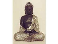 P1035297 Poly. Boeddha Japan. Zwart-zilver. Hoogte : 30 cm.