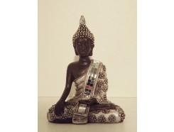 P1035410 Poly. Boeddha Thai hand beneden. Zwart-zilver. Hoogte : 13 cm.
