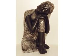 P1035416 Poly. Sleeping boeddha zwart-zilver XL. Hoogte : 62 cm.