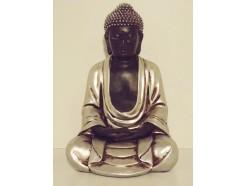 P1035419 Poly. Boeddha Japan hoogte : 25 cm. Zwart-zilver.
