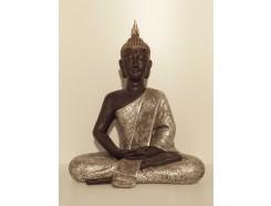 P1035422 Poly. Thai boeddha XL. Zwart-zilver. Hoogte : 62 cm.