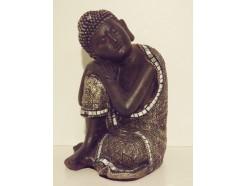 P1035438 Poly. Sleeping boeddha bewerkt. Zwart-zilver. Hoogte : 15 cm.
