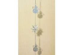 M50803 Metal decoration hanging. 5 silver snowmen and 3 double stars 120 cm. Packed per 6. Price is per 6 pieces.