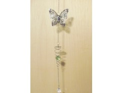 M50290 Metal decoration hanging. Spiral with glass ball and silver butterfly. 58 cm. Packed per 6. Price is per 6 pieces.