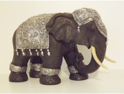 P1035466 Poly. Elephant black-silver height : 26 cm.