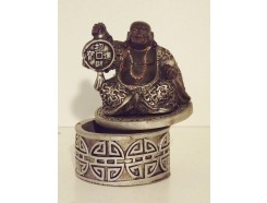 P1034001 Poly. Box happy buddha height :  7,5 cm. Black-silver. Packed per 4. Price is per 4 pieces.