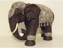 P1035456 Poly. Elephant. Black-silver. Height : 35 cm.